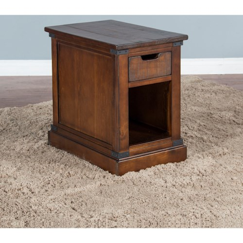 Sunny Designs 3270 Rustic Chair Side Table with Open Shelf