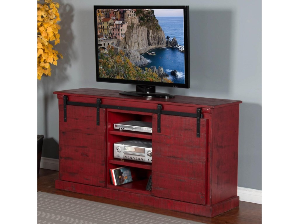 3577 65 Tv Console W Barn Doors By Sunny Designs At Conlins Furniture