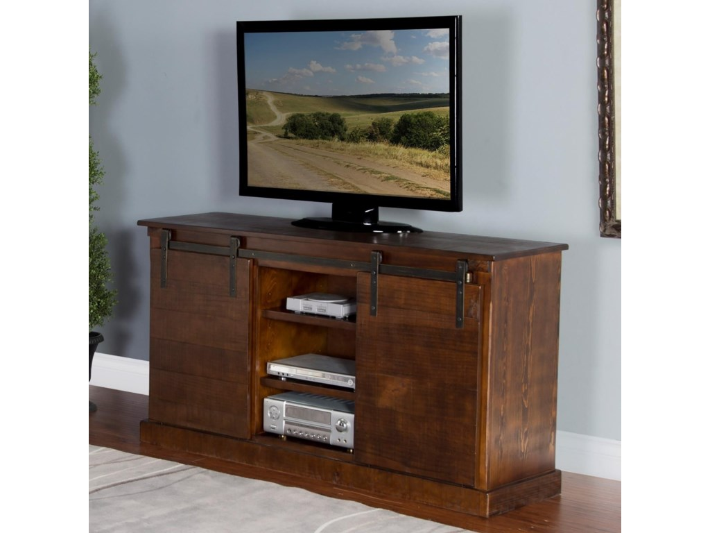 Barndoor 65 Tv Console W Barn Doors By Sunny Designs At Crowley Furniture Mattress