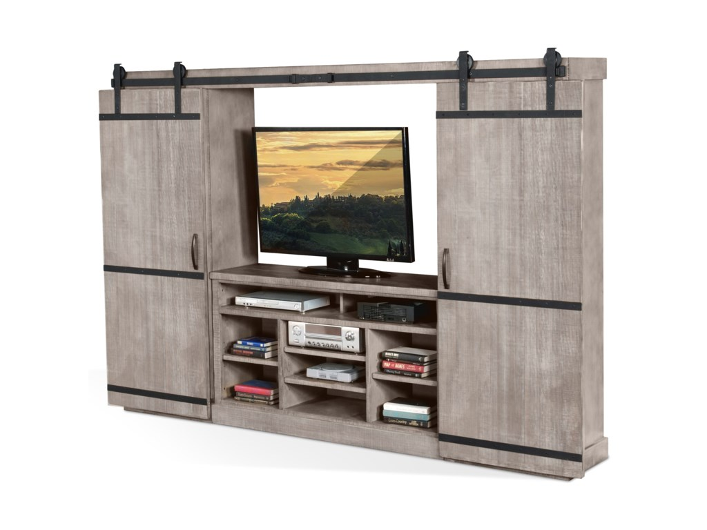 Sunny Designs 3579Barn Door Entertainment Wall