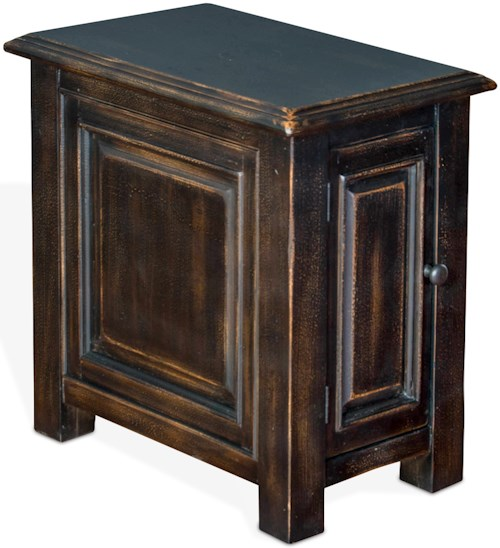 Sunny Designs Albany Chair Side Table with Door in Weathered Black Finish