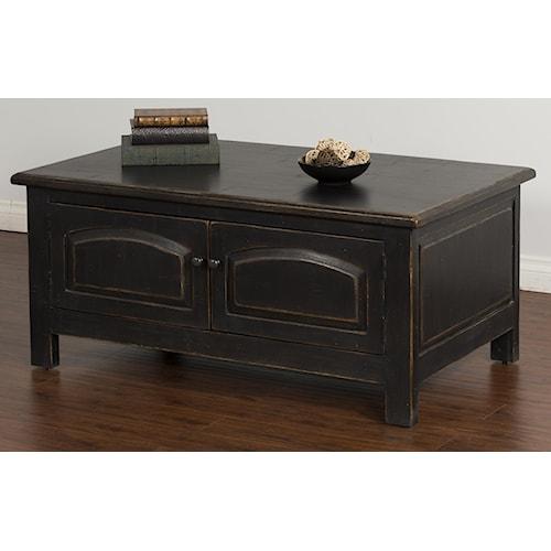 Sunny Designs Black Coffee Table w/ Storage Doors