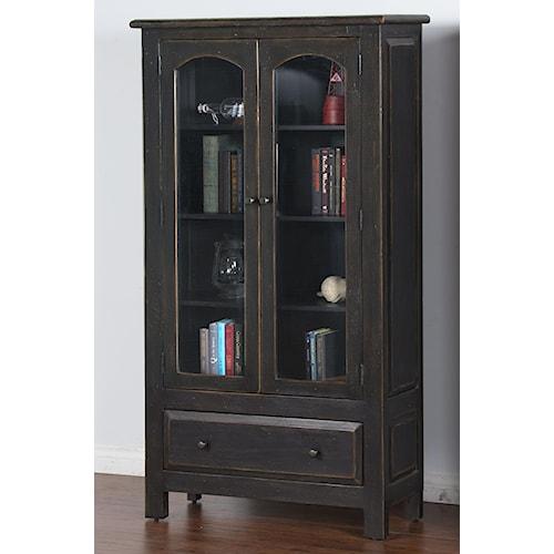 Sunny Designs Black Distressed Finish 2 Door Display Cabinet