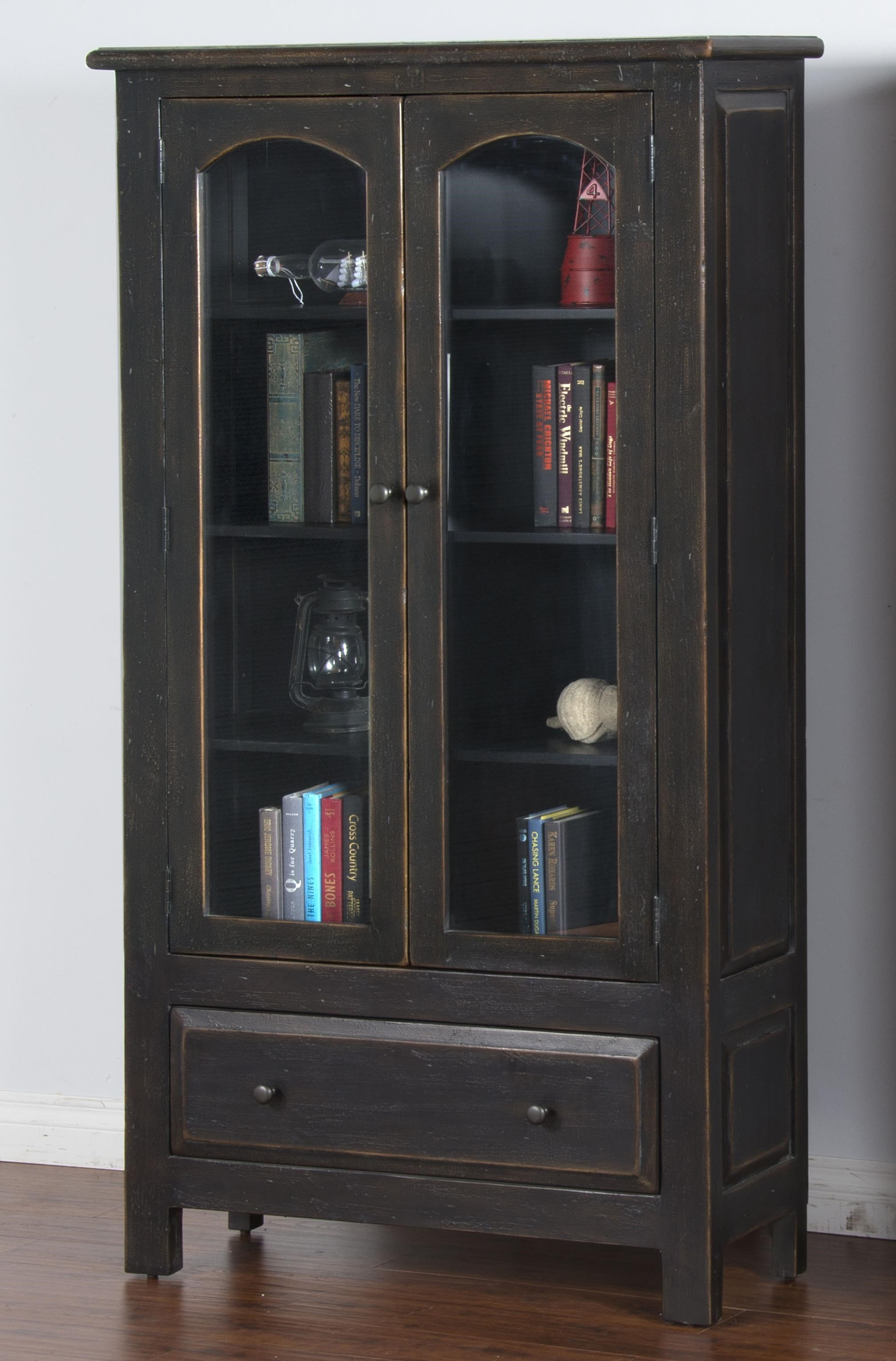 Sunny Designs Black Distressed Finish 2 Door Display Cabinet