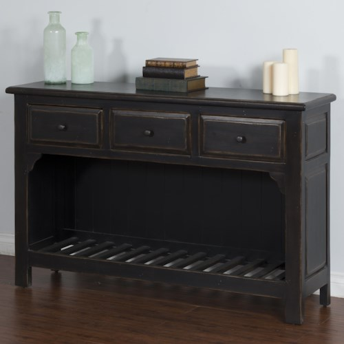 Sunny Designs Black Sofa Table with 3 Drawers & Slat Shelf
