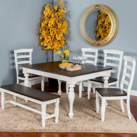 Six Piece Table Set with Bench