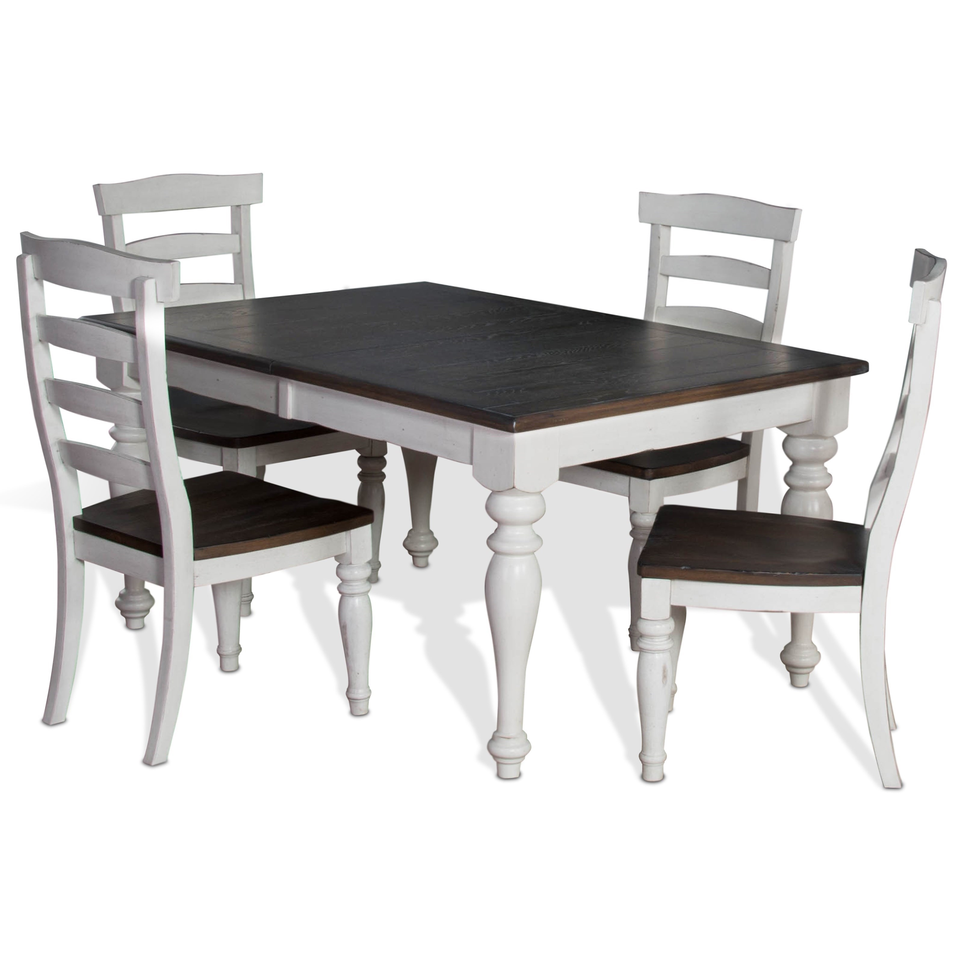 Sunny Designs Bourbon County5 Piece Extension Dining Table Set ...