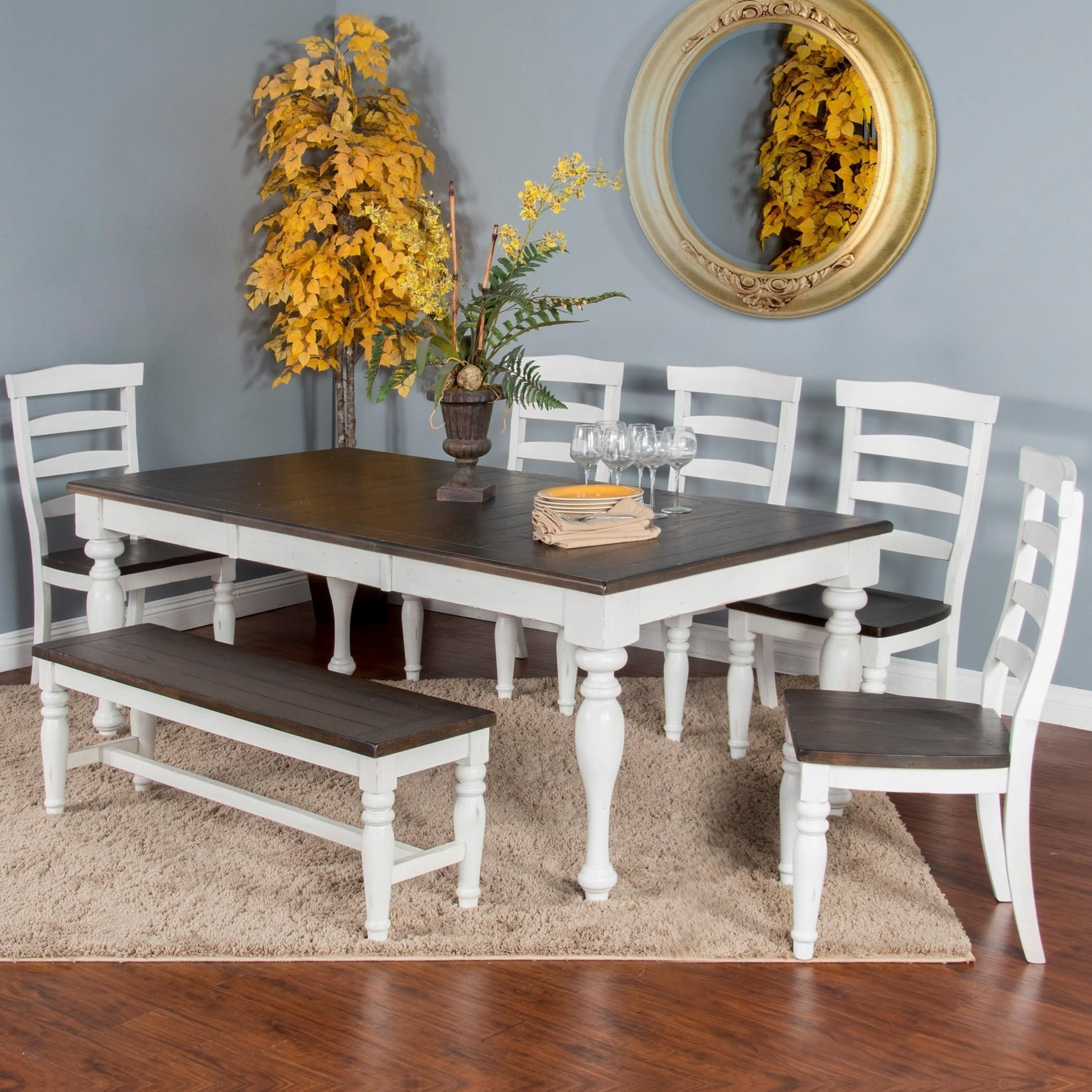 Sunny Designs Bourbon County Seven Piece Dining Set With Bench