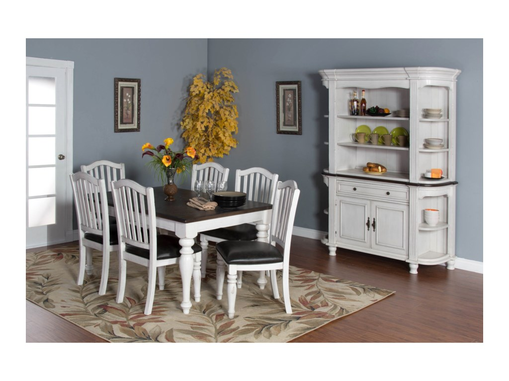 Sunny Designs Bourbon County7-Piece Extension Dining Table Set