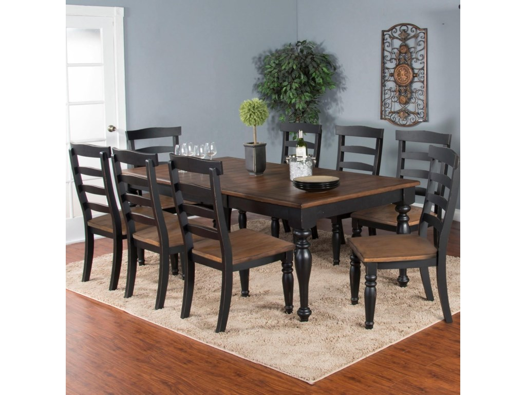 Sunny Designs Bourbon Trail 9-Piece Extension Dining Table Set with ...