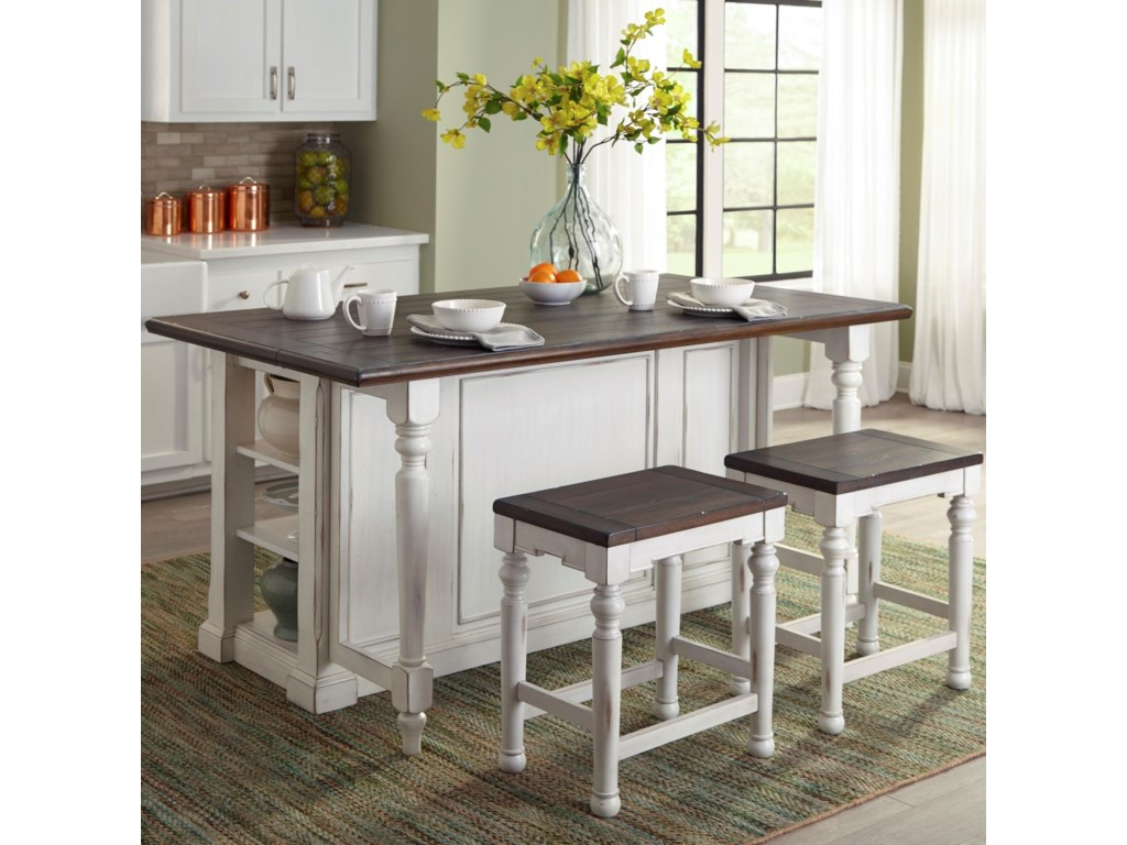 Bourbon County 3 Piece Kitchen Island Set With Gate Leg By Sunny Designs At Suburban Furniture