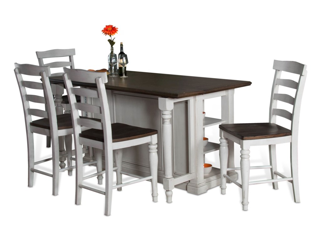 Sunny Designs Bourbon County 5 Piece Kitchen Island Chair Set With Gate Leg