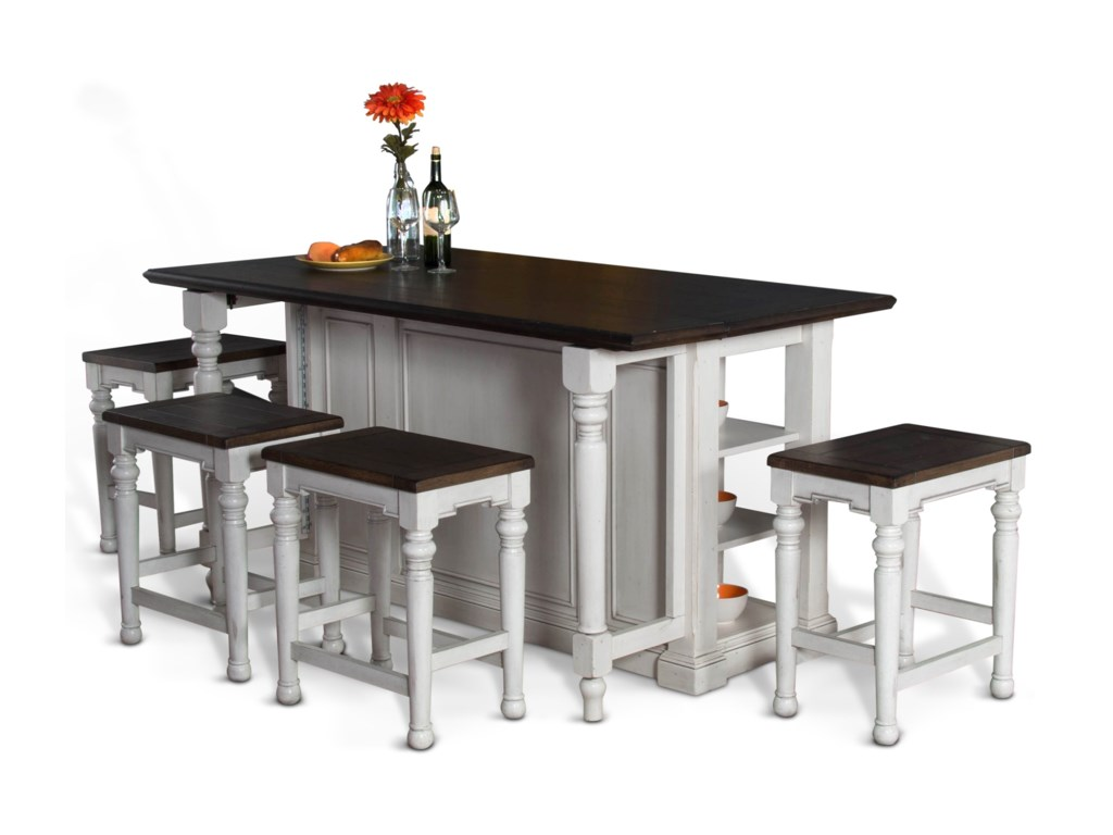 Sunny Designs Bourbon County 5 Piece Kitchen Island Set With Gate Leg