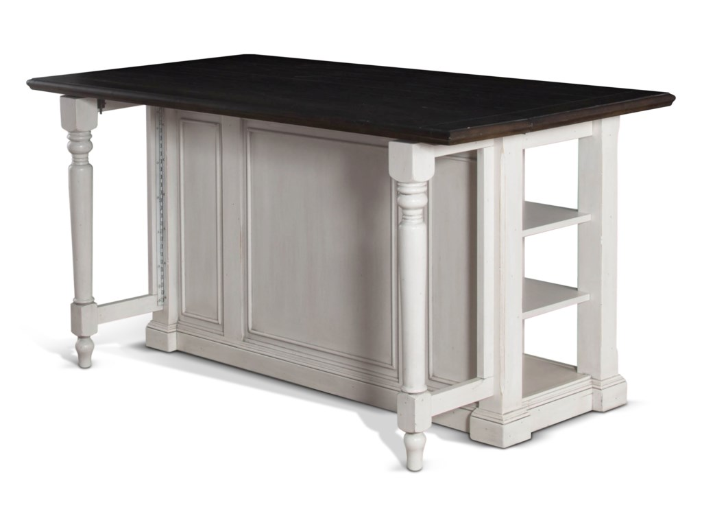 Sunny Designs Bourbon County Two Tone Kitchen Island With Gateleg