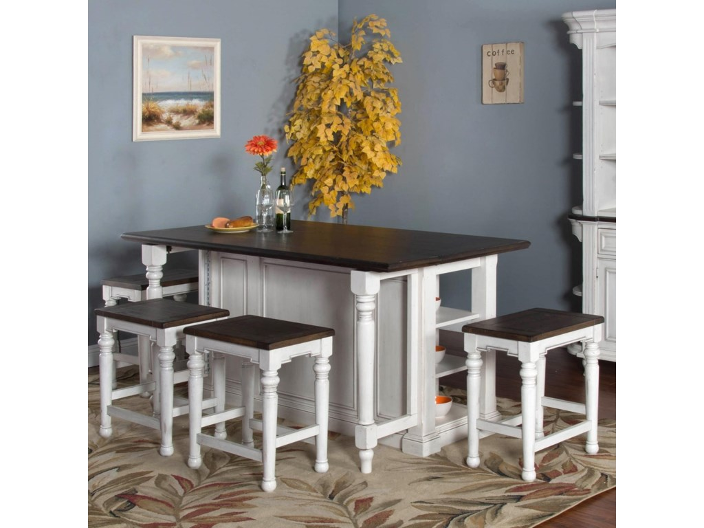 Sunny Designs Bourbon CountyKitchen Island Table w/ Drop Leaf