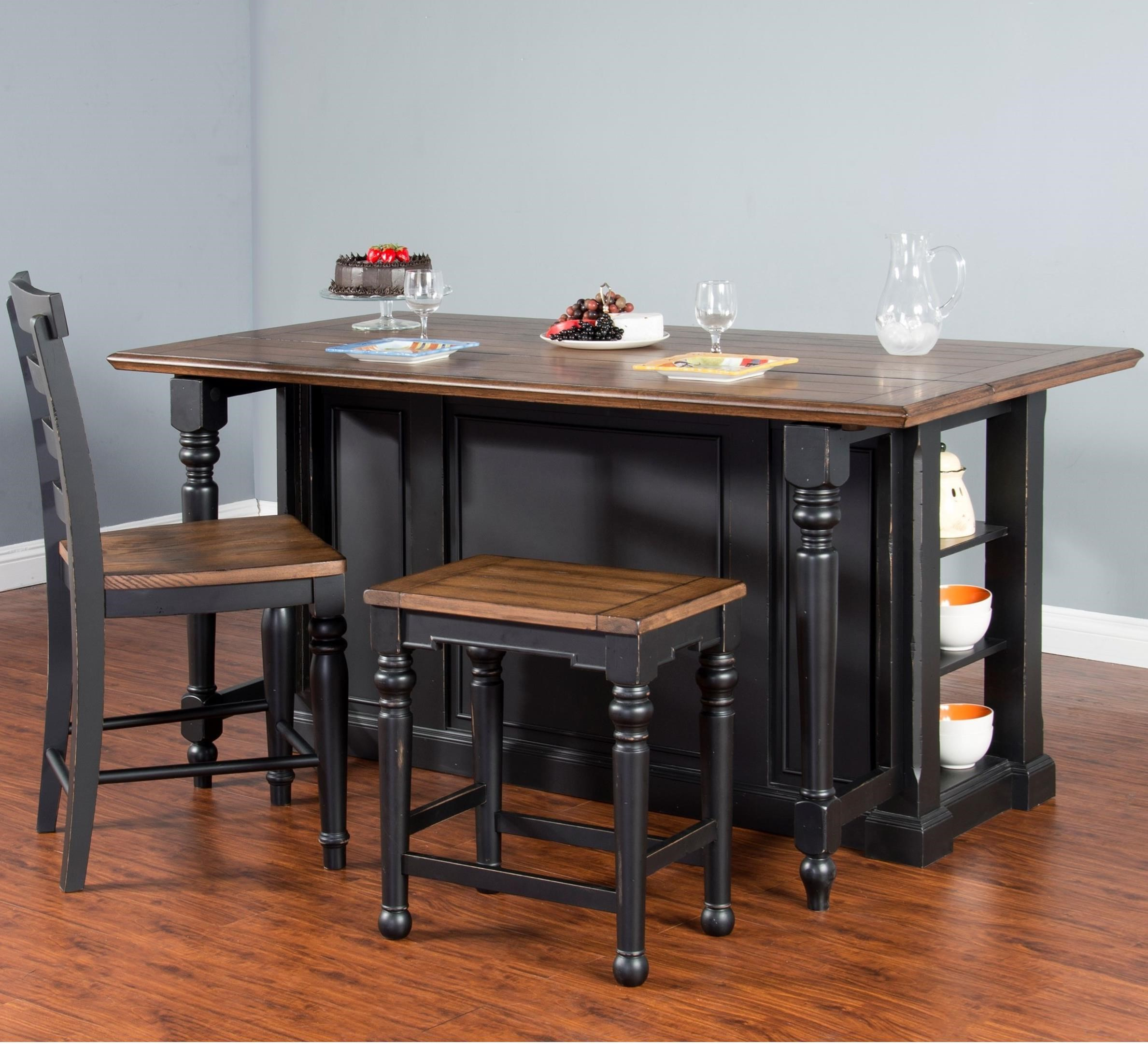Sunny Designs Bourbon Trail 3 Piece Kitchen Island Set With Gate Leg