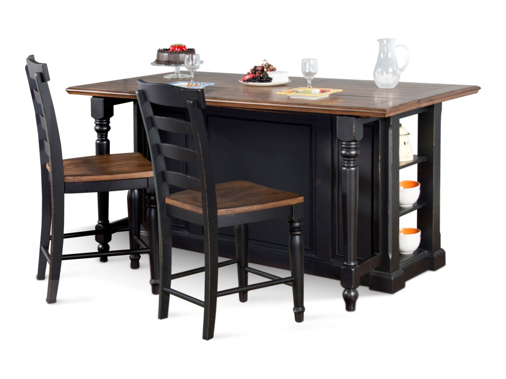 Sunny Designs Bourbon Trailthree Piece Kitchen Island Set
