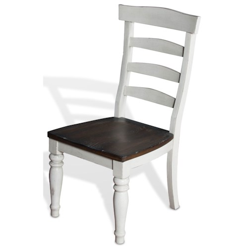 Sunny Designs Bourbon Country Ladderback Chair w/ Wood Seat in White Finish