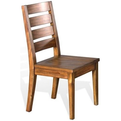 Sunny Designs Carey Live Edge Rustic Ladderback Chair with Wood Seat