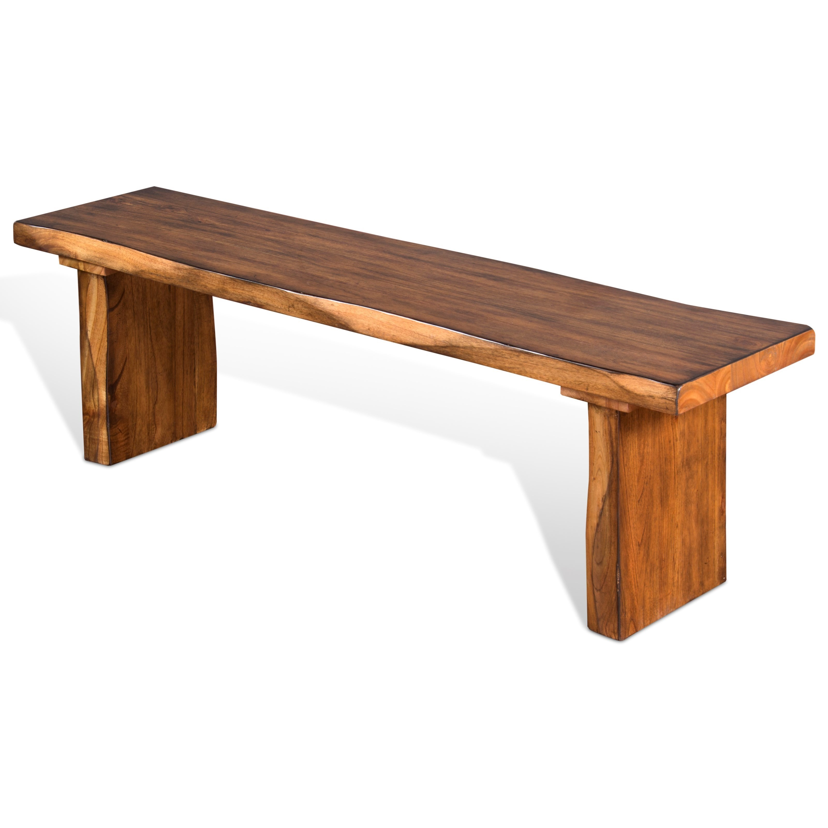 Sunny Designs Carey Live Edge Rustic Dining Bench With Live Edge