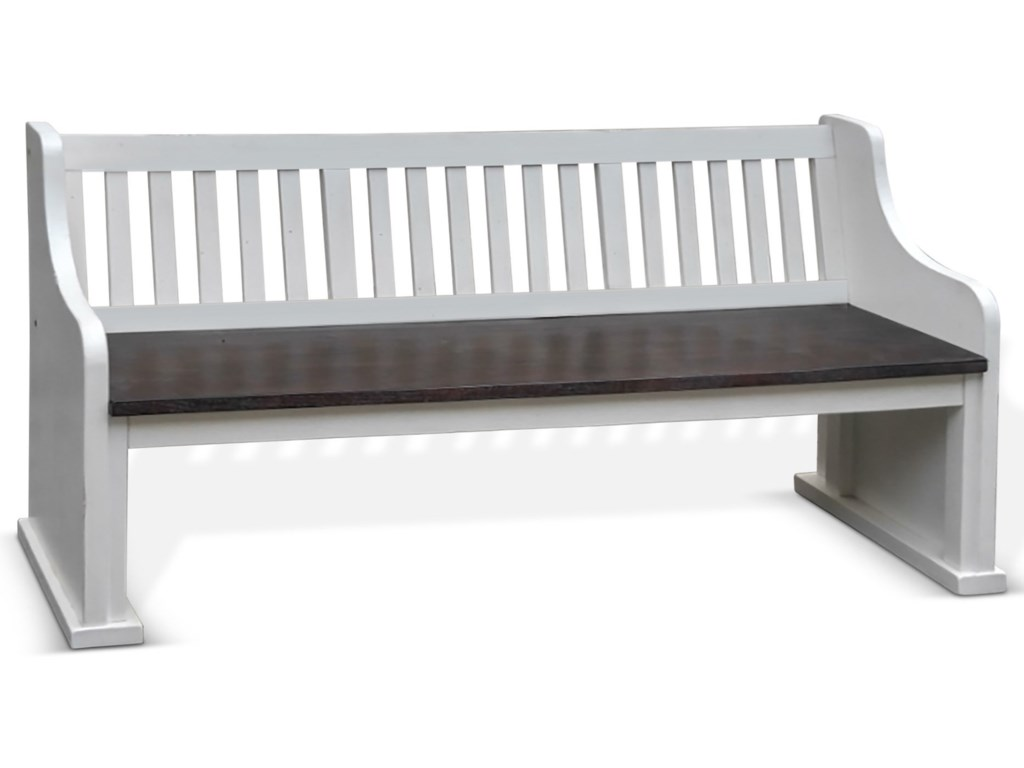 Sunny Designs Carriage HouseBench w/ Back, Wood Seat