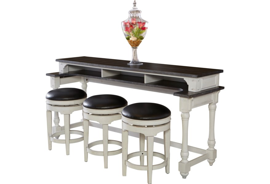 Carriage House 4 Piece Counter Height Bar Table Set with Sofa Table and  Swivel Stools by Sunny Designs at Suburban Furniture