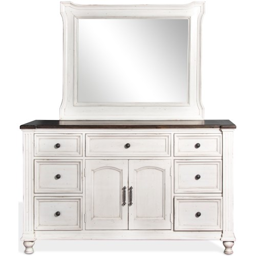 Sunny Designs Carriage House 7 Drawer Dresser and Mirror Combo in European Cottage Finish