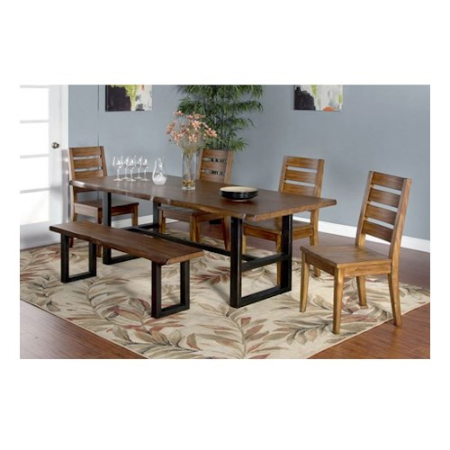 Sunny Designs Cresent Hill 6-Piece Live Edge Table Set with Bench