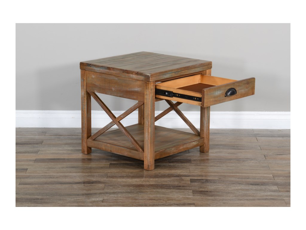 Sunny Designs Durango Rustic End Table With 1 Drawer And 1 Shelf Conlin S Furniture End Tables