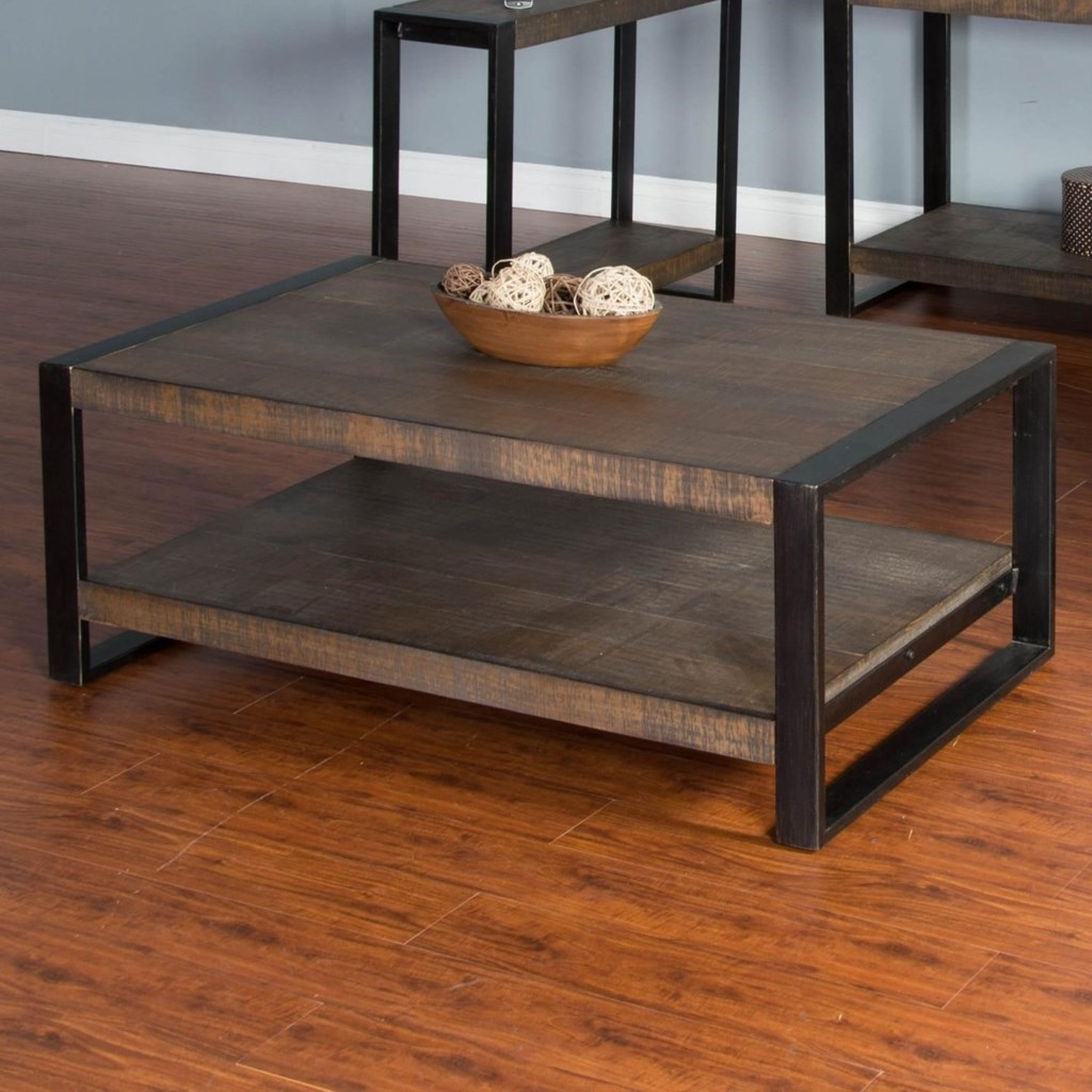 durham distressed pine coffee table with industrial metal frame