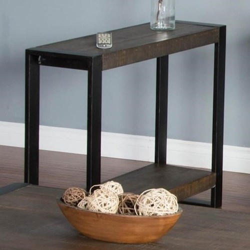 Sunny Designs Durham Distressed Pine Chair Side Table with Industrial Metal Frame
