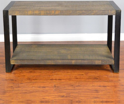 Sunny Designs Durham Distressed Pine Sofa/ Console Table with Industrial Metal Frame