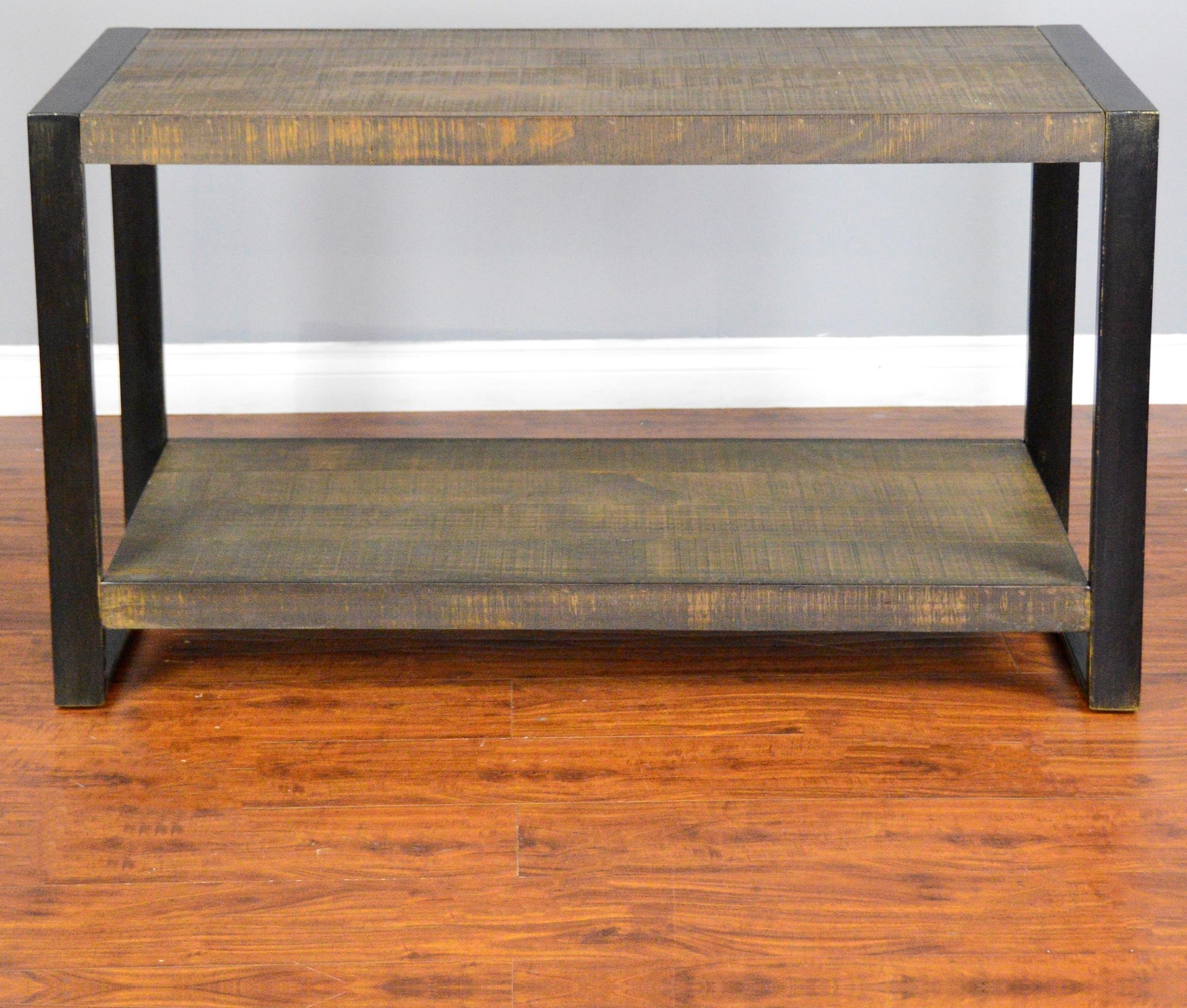 Durham Distressed Pine Sofa/ Console Table With Industrial Metal Frame By  Sunny Designs