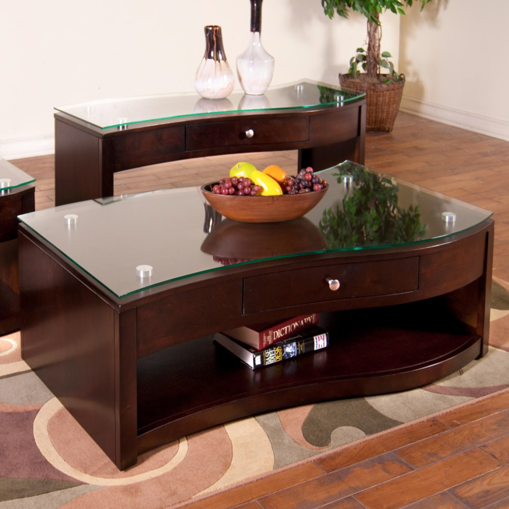 Sunny designs espresso curved coffee table w drawer casters
