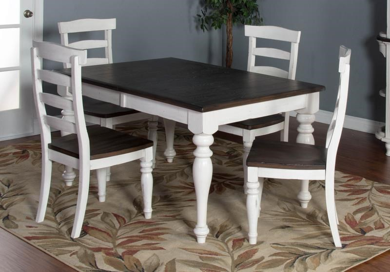 Market Square Fairbanks 5 Piece Dining Set Includes Extension Table And 4  Side Chairs   Morris Home   Dining 5 Piece Set