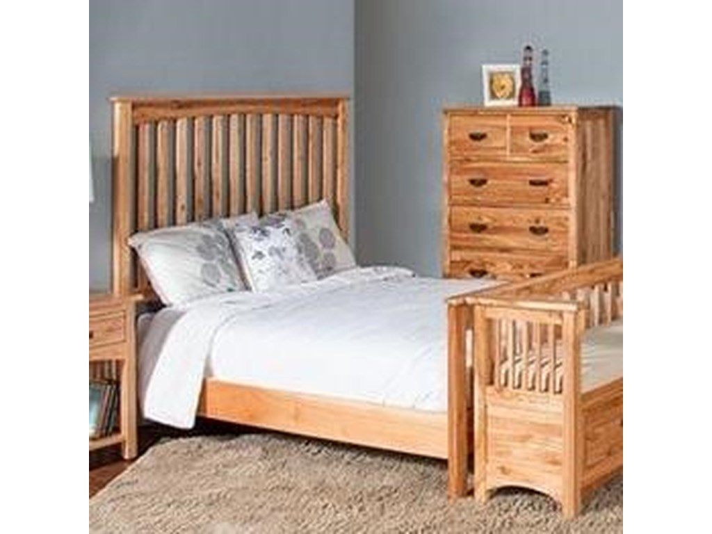 Harrisburg Mission King Panel Bed With Solid Wood Construction By Sunny Designs