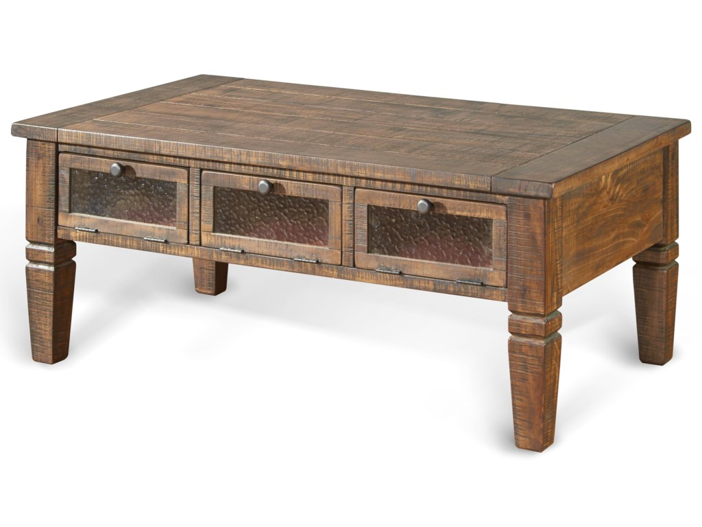 Homestead Rustic Pine Coffee Table w/ 3 Seeded Glass Doors by Sunny Designs  at Fashion Furniture