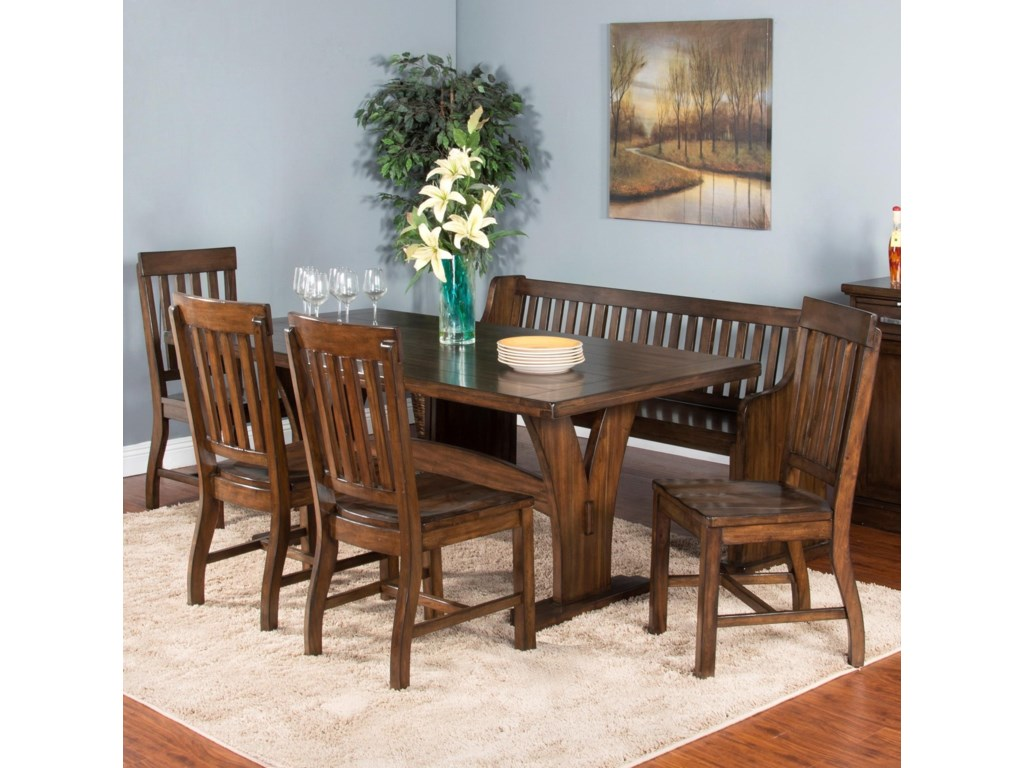 Sunny Designs Lancaster6-Piece Trestle Table Set with Bench