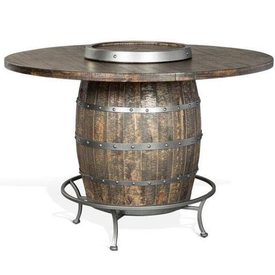 Sunny Designs Metro Flex Rustic Round Pub Table With Wine Barrel Base