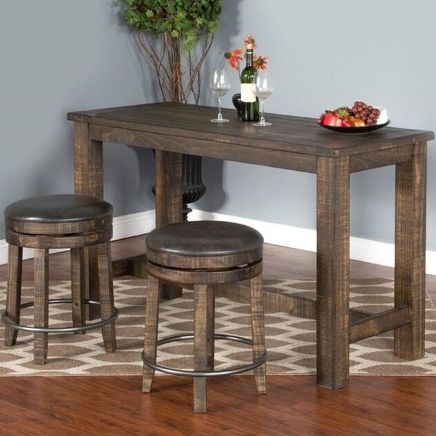Sunny Designs Metro Flex 3 Piece Pub Table Set With Distressed Finish    Darvin Furniture   Pub Table And Stool Sets