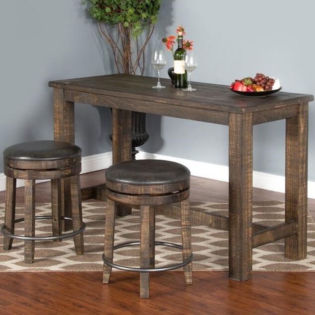 Sunny Designs Metro Flex 3 Piece Pub Table Set With Distressed Finish