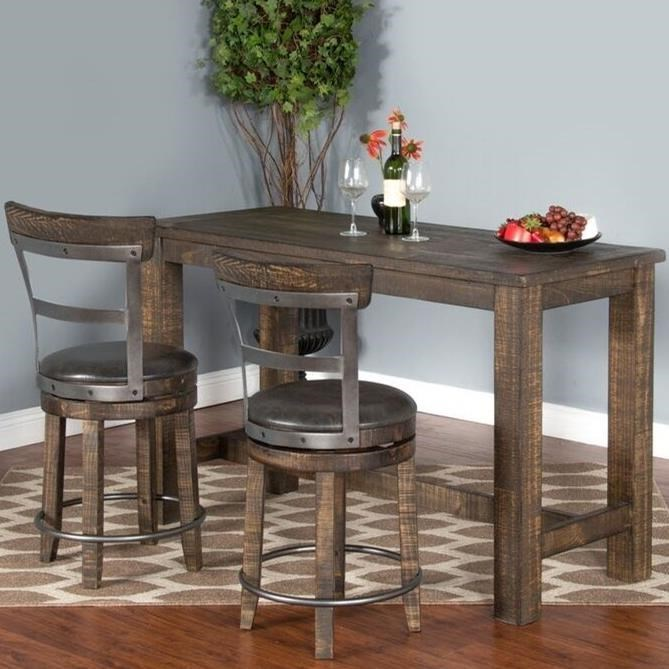 Sunny Designs Metro Flex 3 Piece Pub Table Set With Distressed