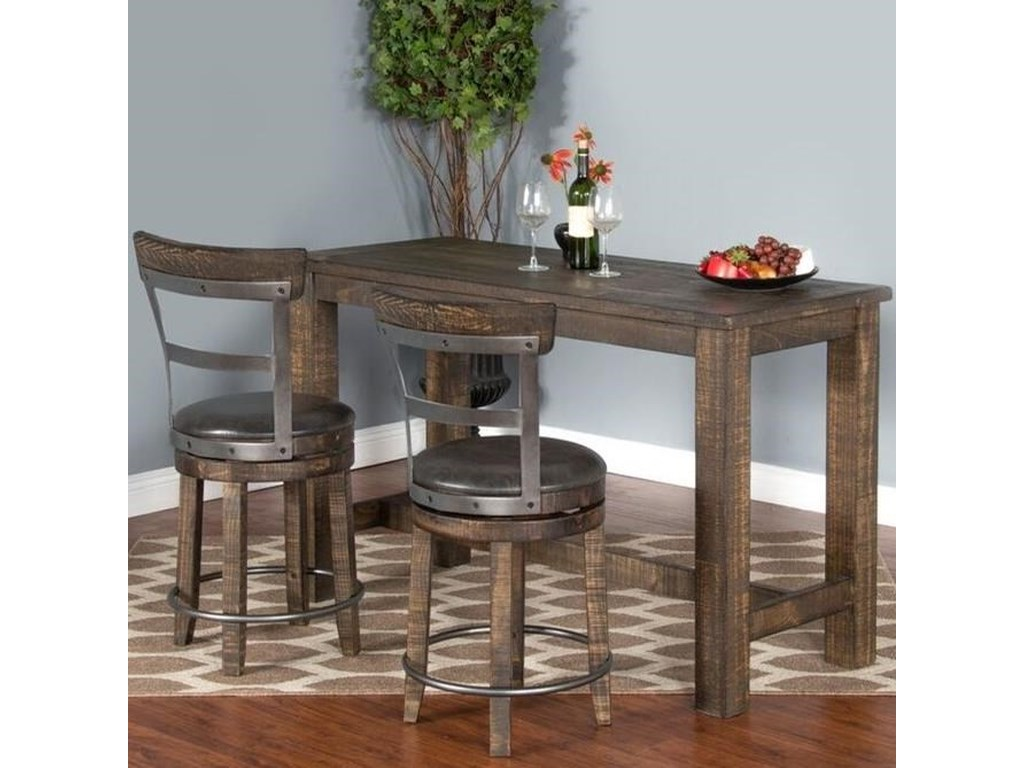 Sunny Designs Metro Flex 3 Piece Pub Table Set With Distressed Finish