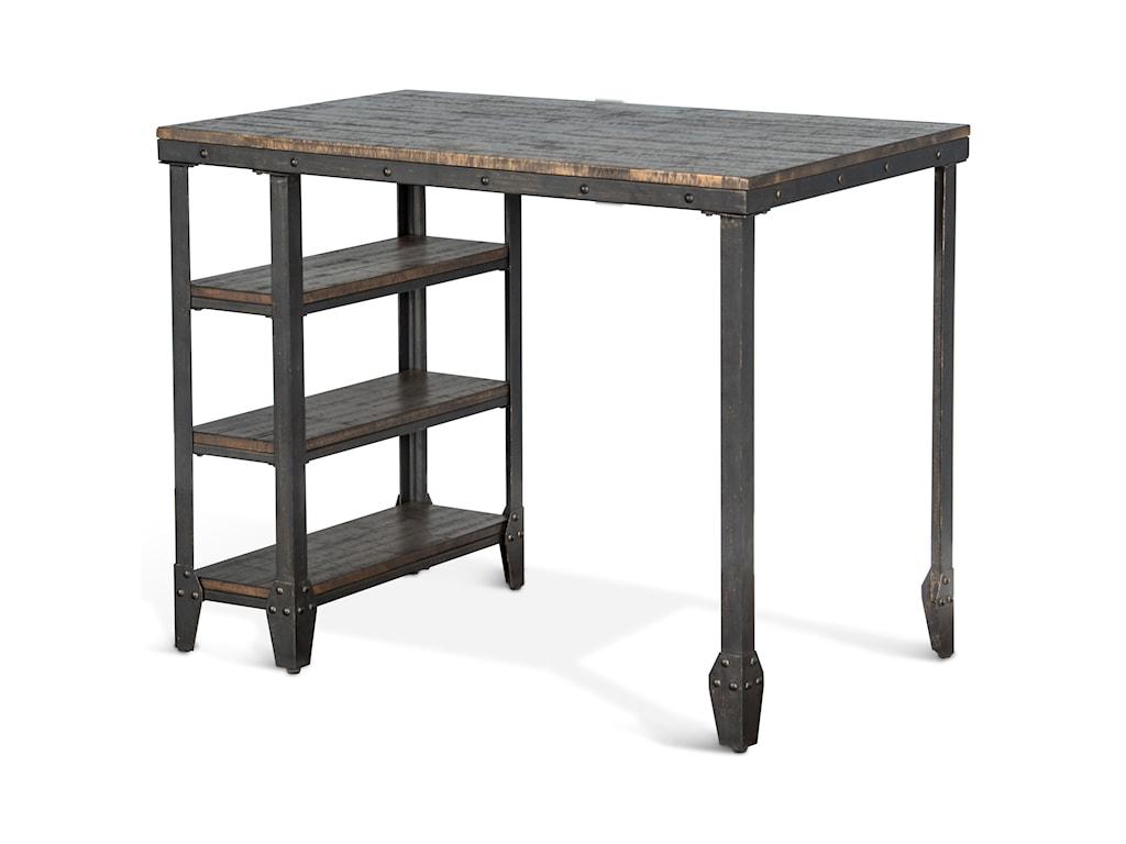 Sunny Designs Metro Flex TL Lamar Metal Table W Wood Top - Metal table with shelves
