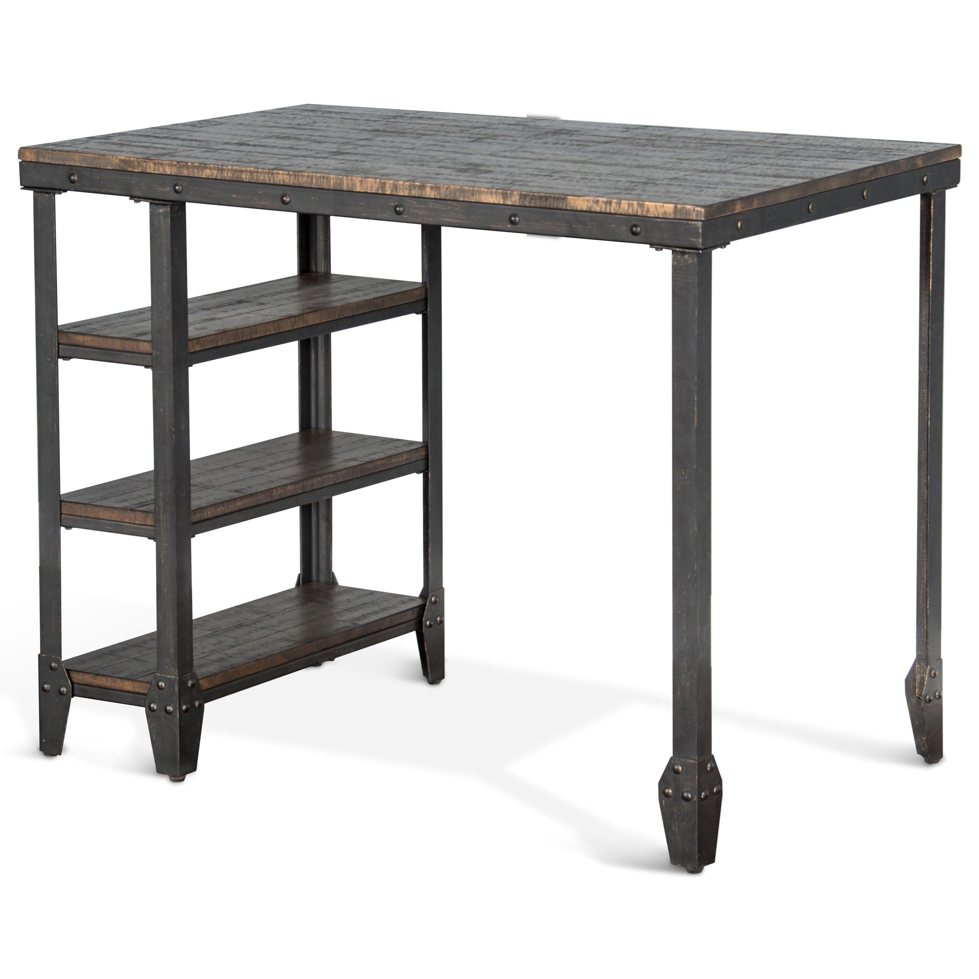 Sunny Designs Metro FlexLamar Metal Table W/ Wood Top U0026 Shelves ...