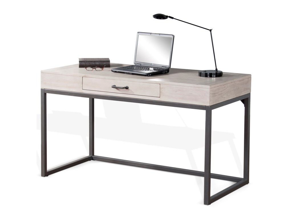 Mt Vernon Contemporary Writing Desk With Metal Base By Sunny Designs