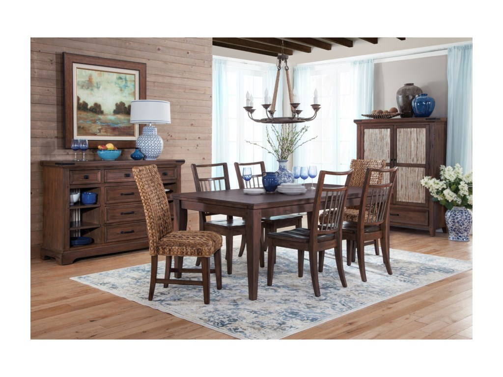 Sunny Designs Mossy Oak Nativ LivingDining Table Set with Six Chairs