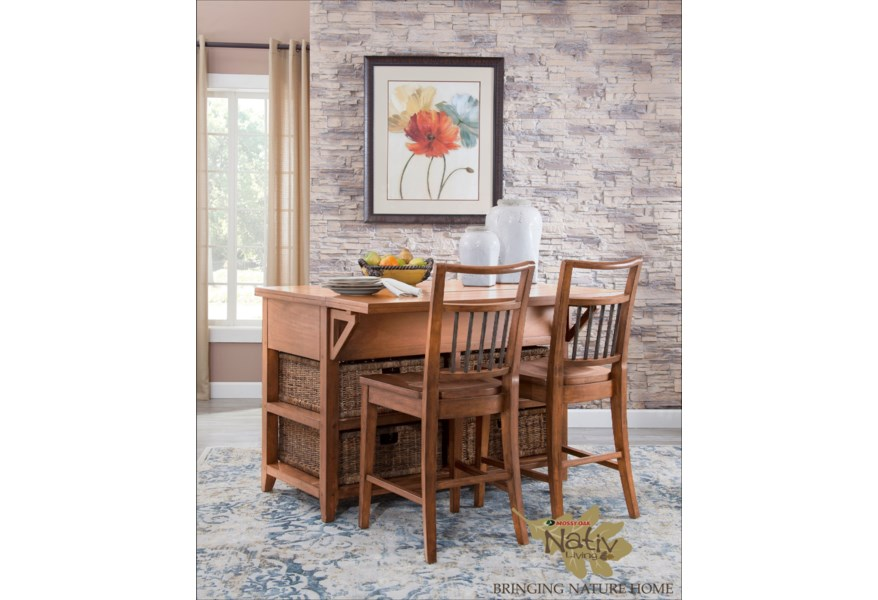 Mossy Oak Nativ Living Kitchen Island and Chair Set with Storage Baskets by  VFM Signature at Virginia Furniture Market