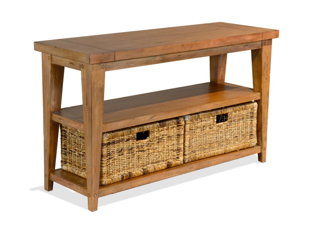 Mossy Oak Nativ Living Rustic Sofa Table with Rattan Baskets by Sunny  Designs at Conlin\'s Furniture