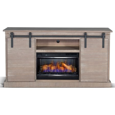 Barn Door TV Console Fire Place